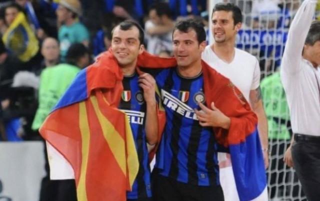 Горан Пандев - Лига на шамиони - финале - со македонско знаме